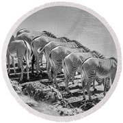 Party Of Eight  6973bw Round Beach Towel