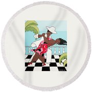 Party On The Porch Round Beach Towel