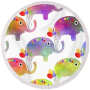 Party Parade - Elephant Children Pattern Round Beach Towel