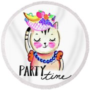 Party Time Round Beach Towel