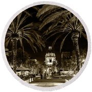 Pasadena City Hall After Dark In Sepia Tone Round Beach Towel