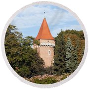 Pasamonikow Tower And Planty Park In Krakow Round Beach Towel