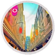 Passage Between Colorful Buildings Round Beach Towel