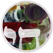 Passages 2- Abstract Art By Linda Woods Round Beach Towel