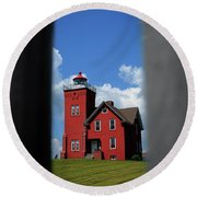 Passageway To The Two Harbors Lighthouse Round Beach Towel
