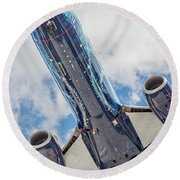 Passenger Jet Coming In For Landing 3 Round Beach Towel