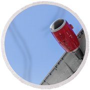 Passenger Jet Coming In For Landing 8 Round Beach Towel