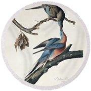 Passenger Pigeon Round Beach Towel by John James Audubon