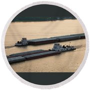 Passing Barges Round Beach Towel
