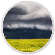 Passing By - Storm Passes By Lone Tree In Western Nebraska Round Beach Towel