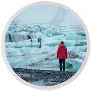 Passing Icebergs  Round Beach Towel