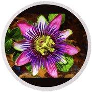Passion Flower Round Beach Towel by Mariola Bitner