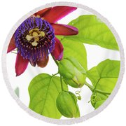 Passion Flower Ver. 9 Round Beach Towel