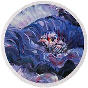 Passion In Blue Round Beach Towel