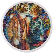 Passion Of The Cats  Round Beach Towel