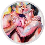 Passionate Kiss Watercolor Round Beach Towel