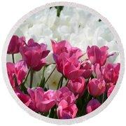 Passionate Tulips Round Beach Towel