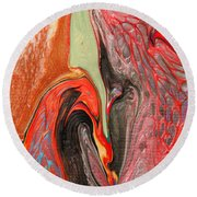 Passionate Waves Abstract Painting Round Beach Towel