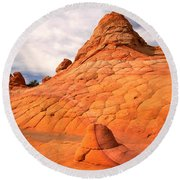 Pastel Checkerboad Landscape Round Beach Towel