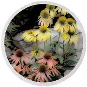 Pastel Cone Flowers Round Beach Towel