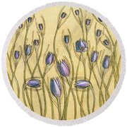 Pastel Floral Pattern On Soft Yellow Background Round Beach Towel