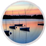 Pastel Lake And Boats Simphony Round Beach Towel