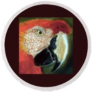 Pastel Of Red On The Head  Round Beach Towel