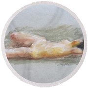 Nude Lady Round Beach Towel