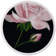 Pastel Pink Rose Round Beach Towel