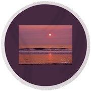 Pastel  Pink Sunrise Round Beach Towel