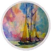 Pastel Sail Round Beach Towel