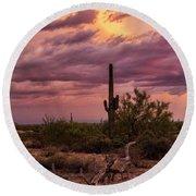 Pastel Sonoran Skies At Sunset  Round Beach Towel