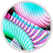 Pastel Spiral Staircase Fractal Round Beach Towel