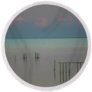 Pastel Sunset In May  Round Beach Towel