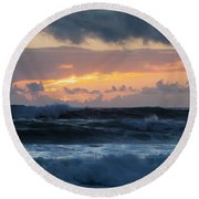 Pastel Sunset Over Stormy Waves Round Beach Towel