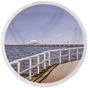 Pastel Tone Sea Pier Landscape Round Beach Towel