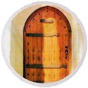 Pastel Wooden Door Round Beach Towel