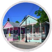 Pastels Of Key West Round Beach Towel