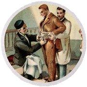 Pasteur Inoculating Man With Rabies Round Beach Towel