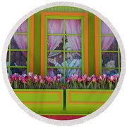 Pastle Windows Round Beach Towel