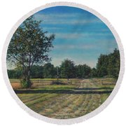 Pastoral Off Poplar Hill Road Round Beach Towel