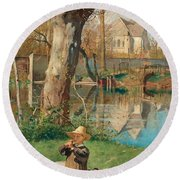 Pastoral Scene On The Bank Of The Loing Round Beach Towel