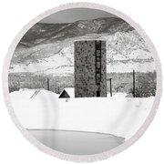 Pastoral Winter Round Beach Towel