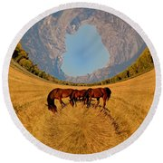 Pasture Of Another World Round Beach Towel