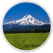 Pasture View Of Mt. Hood Round Beach Towel