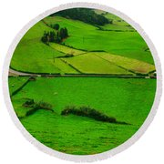 Pastures In The Azores Round Beach Towel