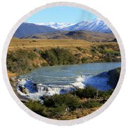 Patagonia Landscape Of Torres Del Paine National Park In Chile Round Beach Towel