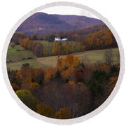 Patch Worked Mountains In Vermont Round Beach Towel