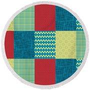 Patchwork Patterns - Muted Primary Round Beach Towel