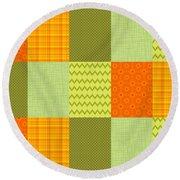 Patchwork Patterns - Orange And Olive Round Beach Towel